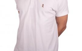 Hvid polo med guld logo fra Shawn London