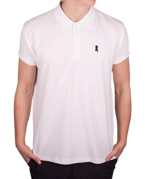 Hvid polo med sort logo fra Shawn London