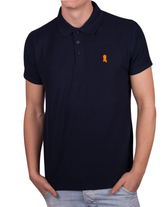 Navy med orange logo polo fra Shawn London